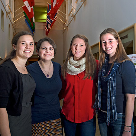 Rachel Smidt, Kate Clitheroe, Melissa Weiss, and Krista Woodward, graduate students at the Brown School